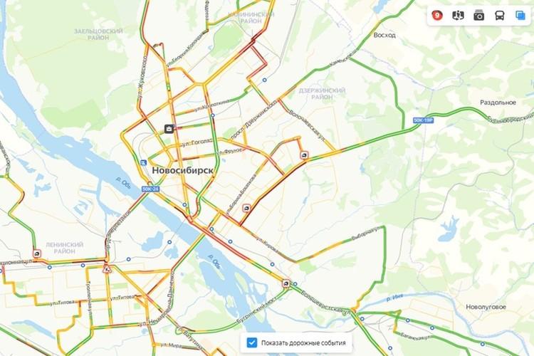 Общая загруженность городских дорог сейчас оценивается в 9 баллов. Фото: https://yandex.ru/maps