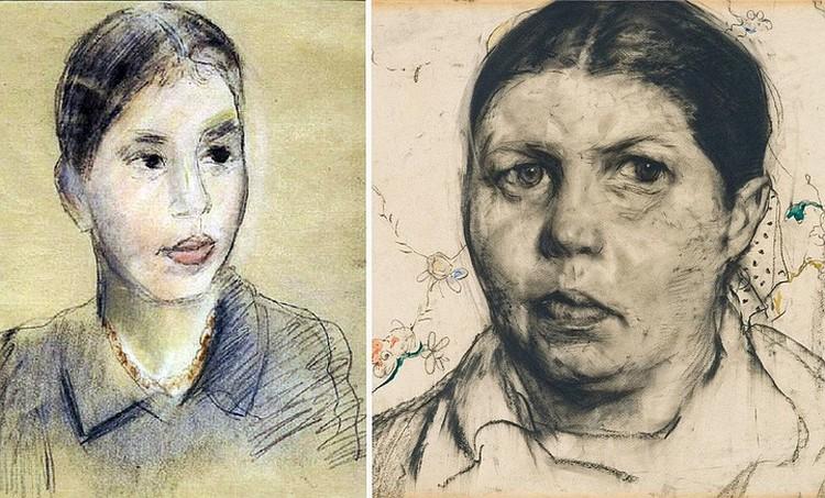Можно ли представить, что эти портреты разделяет всего шесть лет. За это время из моложавой девушки с рисунка Фалька (слева) Ксения превратилась в грузную женщину с выраженной асимметрией лица, какой ее увидел Илья Глазунов (справа)