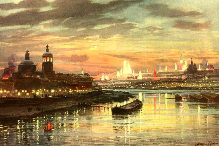 Альберт Бенуа. Иллюминация Москвы в честь коронации Николая II. Акварель. 1896