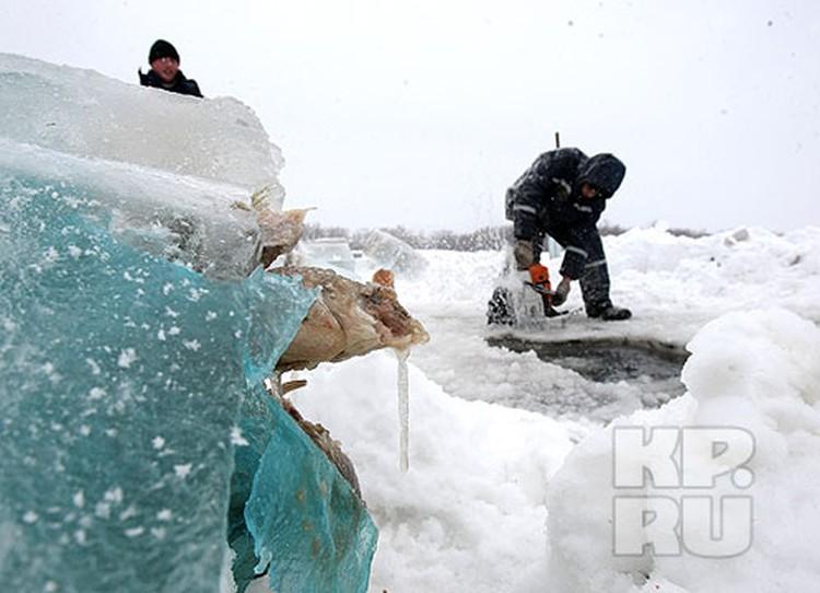 Пакет с рыбой, пойманной погибшим дайвером, вмерз в лед у проруби