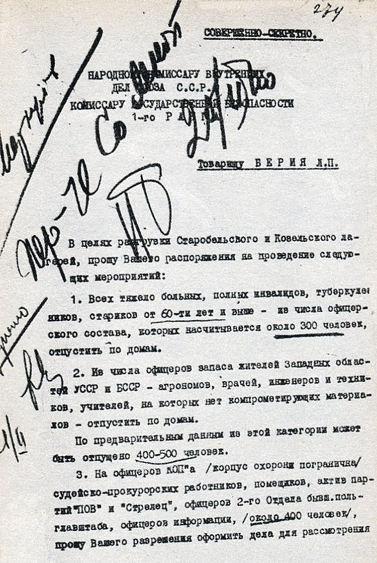 Один из рассекреченных архивных документов: Берия предлагает Сталину, как поступить с поляками, оказавшимися в лагерях.