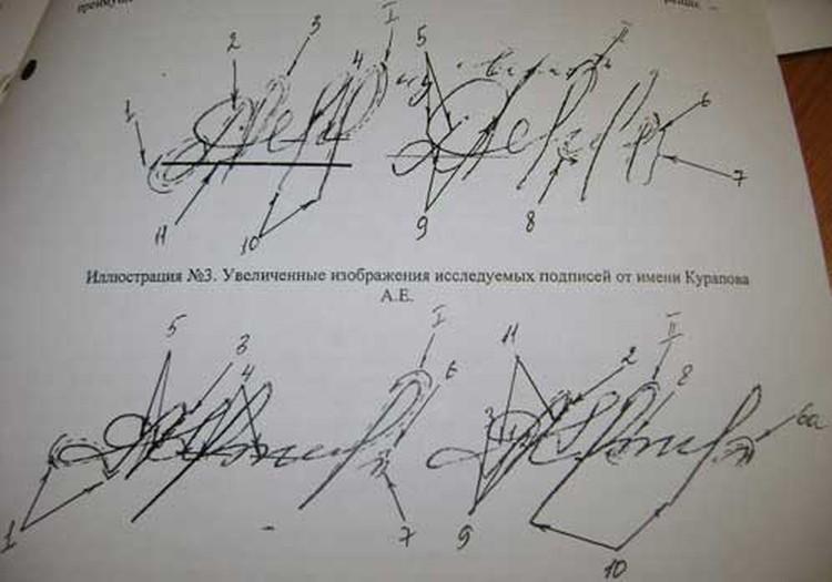 Результаты почерковедческой экспертизы показали: подписи полковника в договоре купли-продажи квартиры - липовые (на фото они справа). Места несовпадения фальшивых росчерков с настоящими (на фото они слева) эксперт обозначил пунктиром.