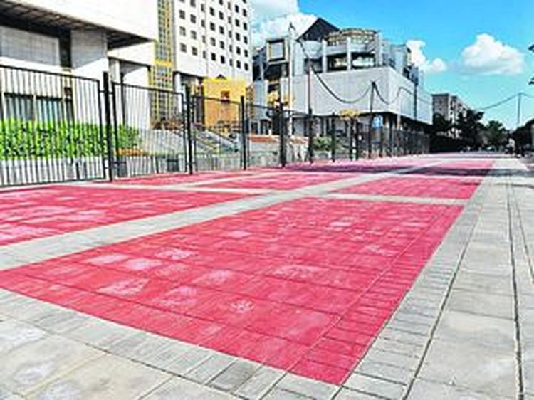 Возле здания президиума Российской академии наук тротуар почему-то решили покрасить.