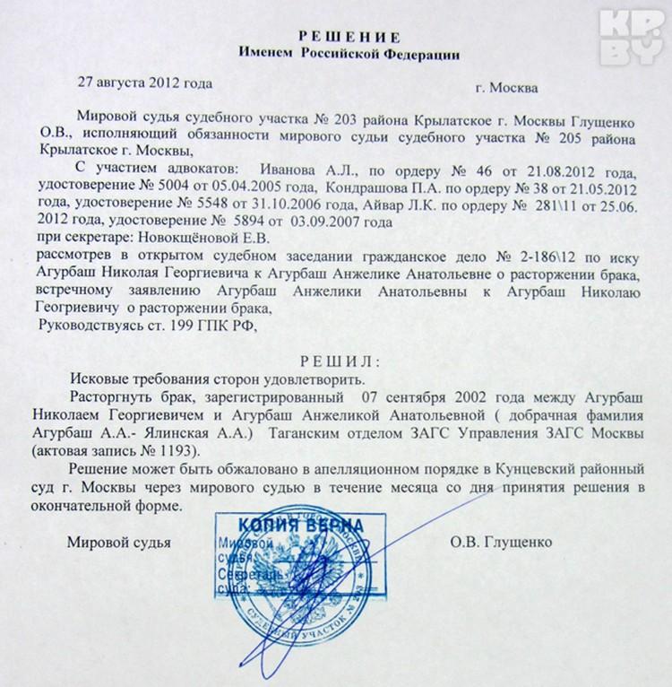 27 августа прошлого года Анжелику и Николаю Агурбаш развели