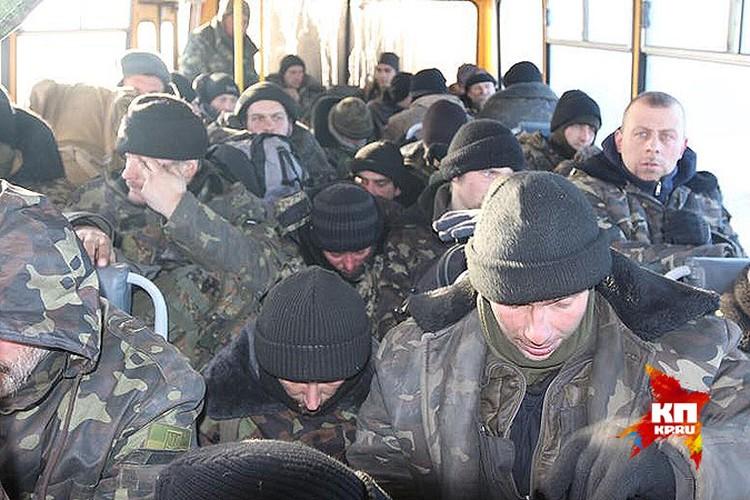 Автобус с украинскими пленными.