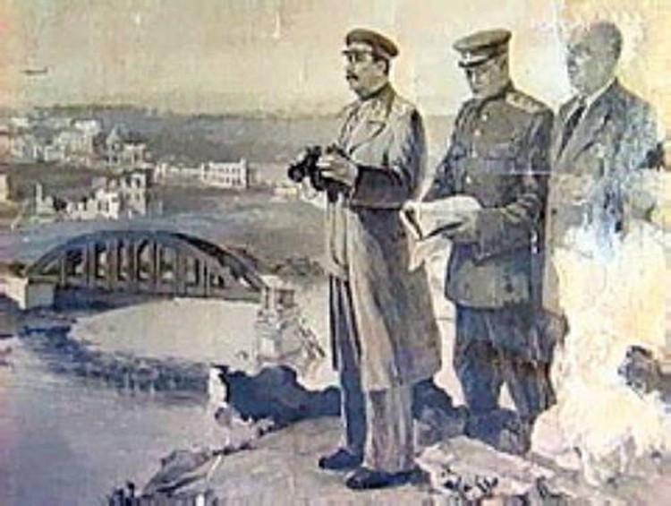 Репродукция с картины неизвестного художника, где запечатлен приезд Сталина в Ржев. На берегу: И. В. Сталин, А. И. Еременко, Л. П. Берия