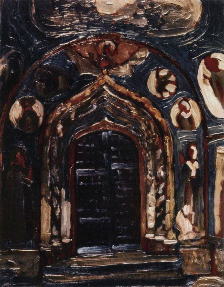 Рерих писал церковь Николы Мокрого несколько раз – ворота, интерьер, вход, над которым виднеются главки и часть колокольни.     ФОТО: Репродукция Николая Рериха