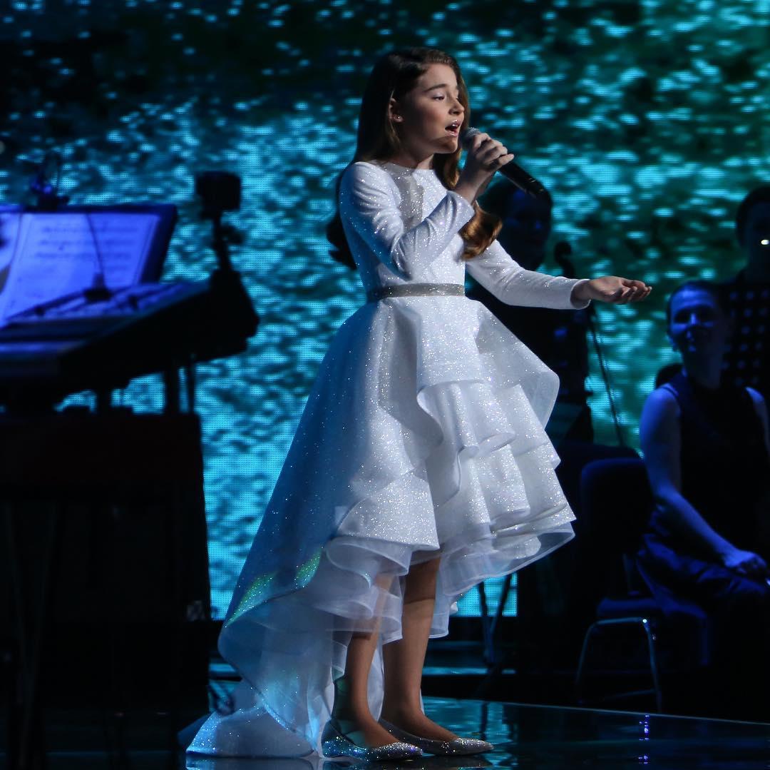My little shining in a beautiful dress