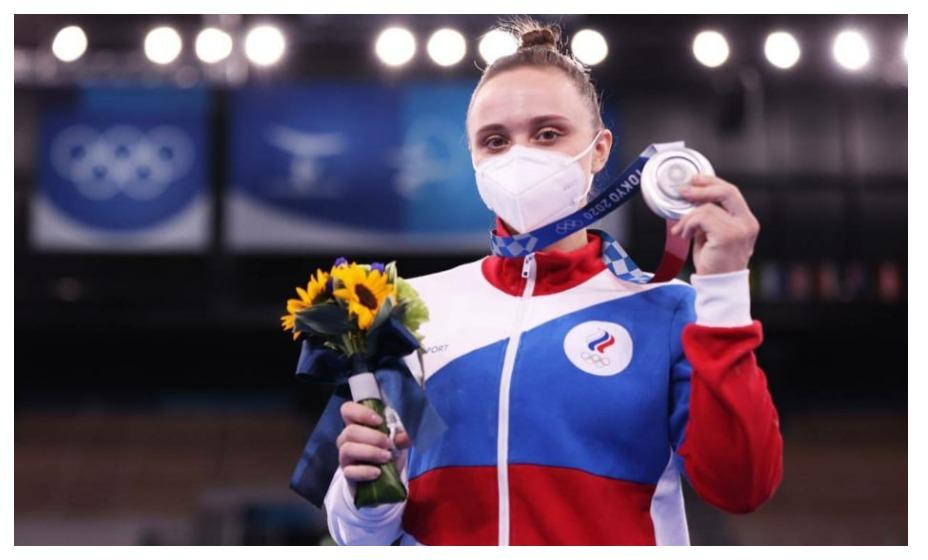 Гимнастка Анастасия Ильянкова стала серебряным призером Олимпиады-2020. Фото: ОКР