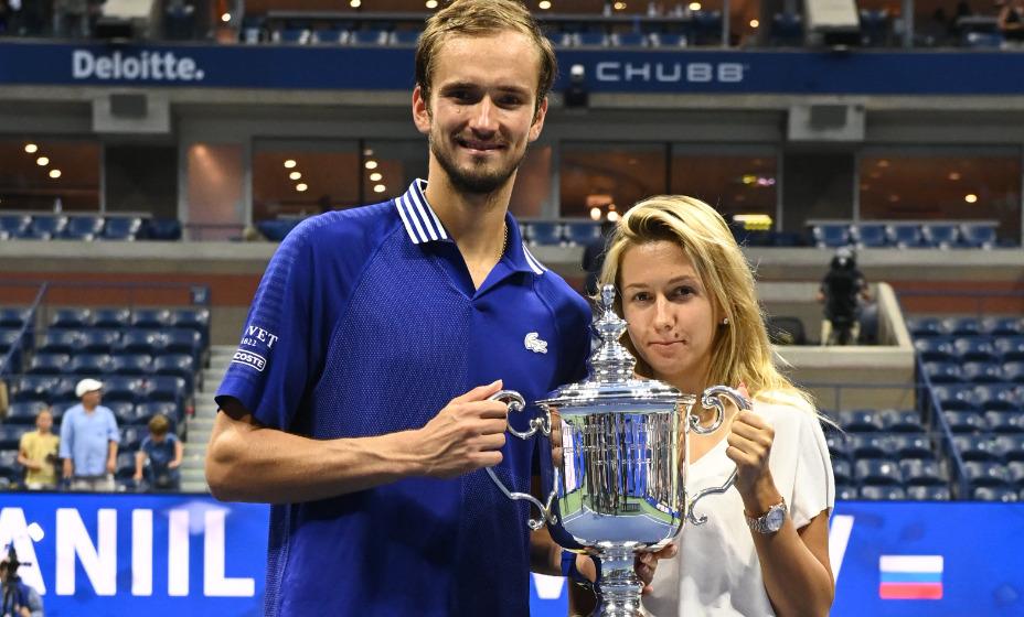 Даниил Медведев с супругой Дарьей после победы в турнире Открытого чемпионата США. Фото: Twitter Us Open